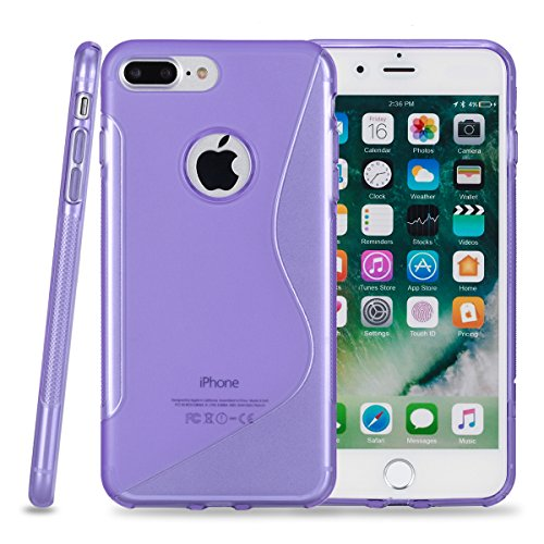 KMO Apple iPhone 7 Plus / iPhone 8 Plus Case Cover [Shock Absorbing] [Thin Fit] Premium S Line Wave Soft TPU Gel Skin Protection - Purple