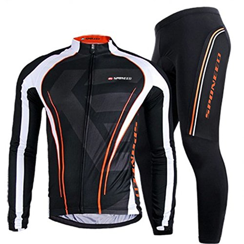 Sponeed Winter Cycling Gear Men's Bicycle Pants Jerseys Jacket Long Sleeved Road Biking Outfit  Asian XXL/ US XL Multi