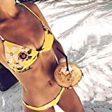 Womens Bikini Set,Jushye 1 Set Sexy Women Bikini Set Swimwear Push-Up Padded Bra Swimsuit Beachwear (M, Yellow)