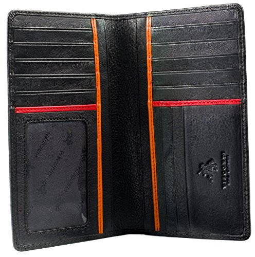 Visconti Jaws BD12 Black Leather Tall Checkbook Wallet 4