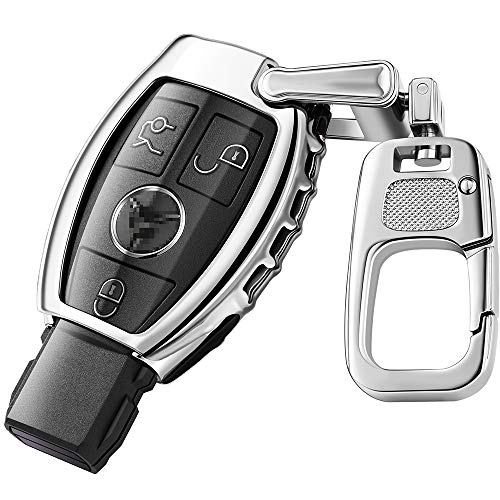QBUC Car Key Fob Cover for Mercedes Benz,Soft TPU Key Case Key Shell Cover Protector with Keychain Compatible with Mercedes Benz C E S M CLS CLK G Class Keyless Smart Key Fob(Sliver)