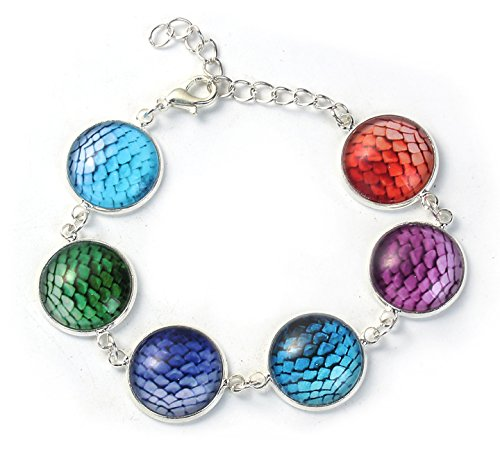 Best Wing Jewelry Glass 17mm Round Mermaid/Fish/Dragon Scale Bracelet ()
