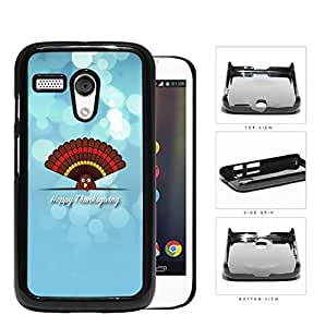 Happy Thanksgiving Cute Turkey On Blue Background Motorola (Moto G) Hard Snap on Plastic Cell Phone Case Cover