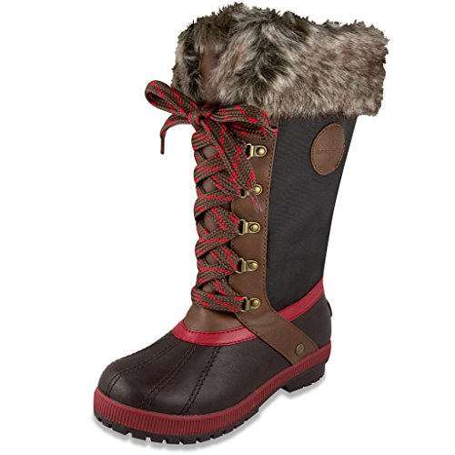 London Fog Womens Melton Cold Weather Waterproof Snow Boot Red/Cognac Waterproof