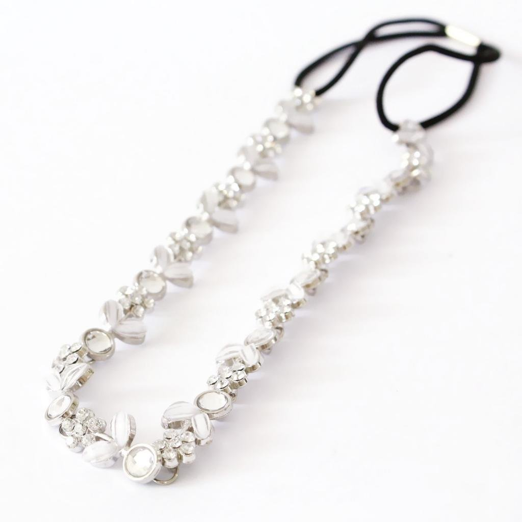 R SovelyBoFan SovelyBoFan Dame Silber ueberzogener Kristall Blumen Elastisches Haarband Stirnband