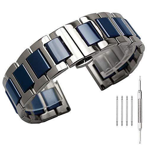 Blue Ceramic 22mm Watch Band Strap, Two Tone Silver Stainless Steel Watch Bracelet for Men Deployment Butterfly ()