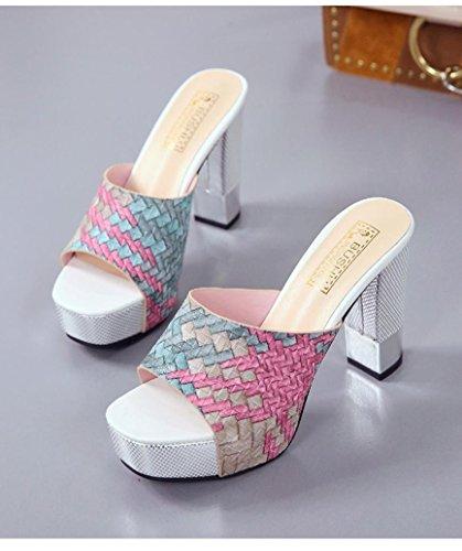 Chaussures Sandales Casual Fond à Couleurs Vert Été Talons Mode Bovake Mixte Cales épais Femme Hauts vx5qvH