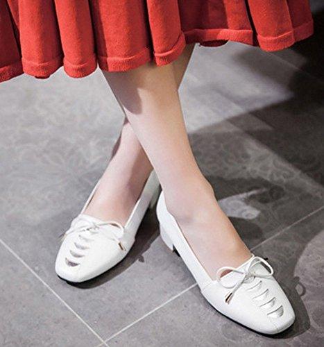 Aisun Donna Casual Comode Punta Quadrata Corta Slip On Dressy Pompe Gonne Grosso Tacchi Scarpe Con Fiocchi Bianchi