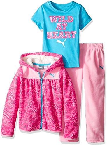 PUMA Toddler Girls' 3pc Hoodie, Tee and Pant Set, Petal Pink