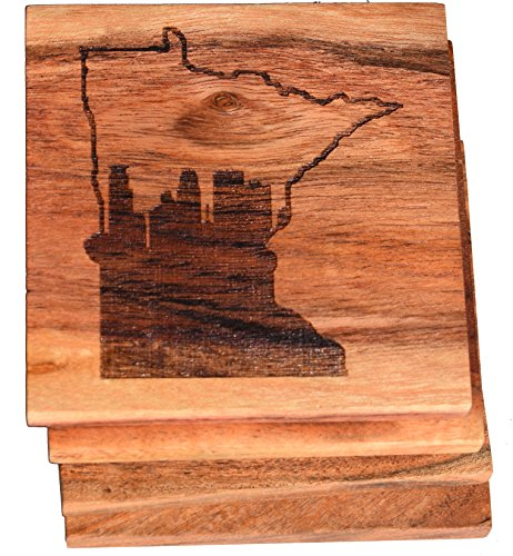 Minneapolis Skyline within Minnesota State Outline Drink Coasters (Multiple Designs) - Engraved Acacia Wood Design - Set of Four