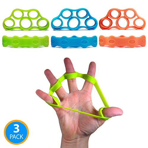 Resistance Bands for Hand & Finger Extensor Training & Exercise by Ability Fitness - For Improving Grip and Wrist Strength, Relieving Pain, Injury Rehabilitation and Stress Relief - Set of 3