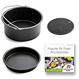 [ XL-VERSION ] Air Fryer Accessories XL- Fits All 5.3-5.8QT - Non-Stick Barrel/Pan + Silicone Mat + Air Fryer Recipes, Compatible with Power Air Fryer XL/Philips Avance XL HD9240 / GoWISE USA XL