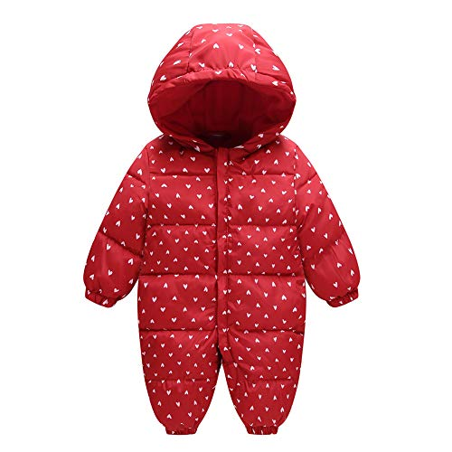 Romper Girl Warm Jumpsuit Outwear Snowsuit Fairy Winter Baby Hood Infant Red Thick Boy qR4tY