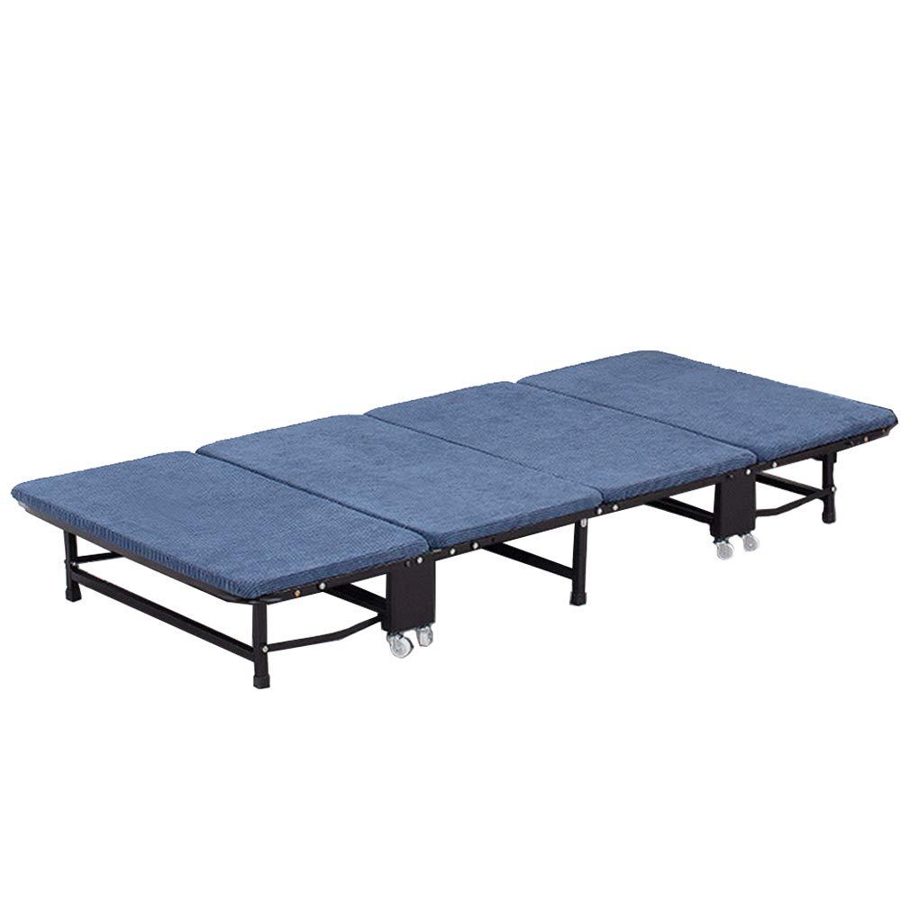 ZHHWYP Gästebett Klappbett für die Mittagspause Einfaches Begleitbett Mobiles Einzelbett für die Mittagspause Schwamm-Vierfachklappbett,Blau,70CM