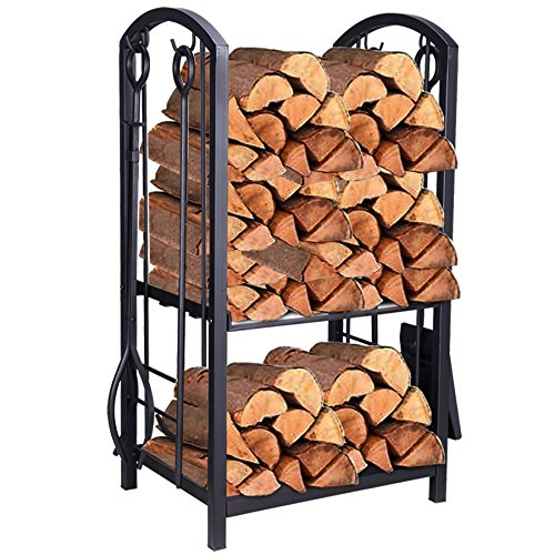 (Pinty Heavy Duty Firewood Log Rack Firewood Storage Fireplace Tool Set with 4 Tools)