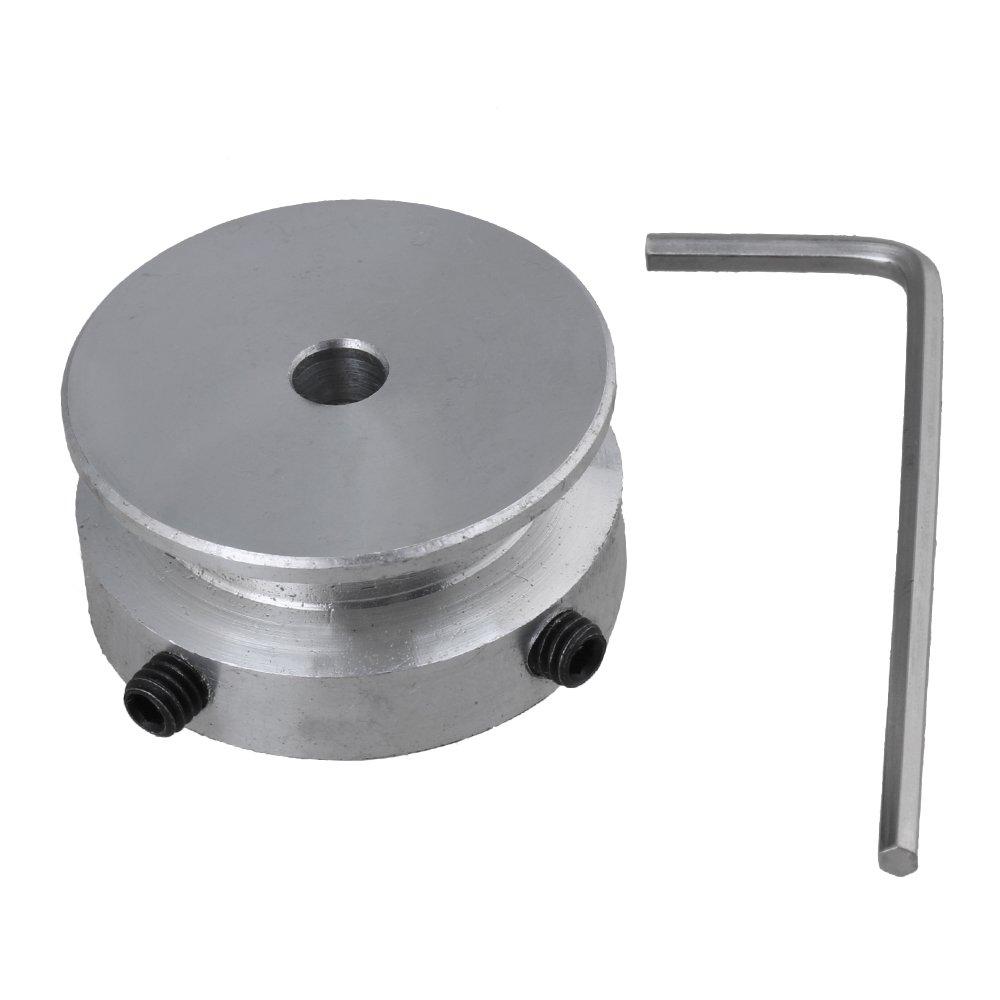 BQLZR Aluminium Argent/é Unique 1/Groove fixe Al/ésage Poulie pour arbre du moteur 6/mm ronde Ceinture avec cl/é argent