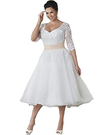 Amazon.com: ROMOO Women Short Wedding Dress Lace Plus Size ...