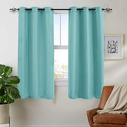 Curtains for Bedroom 63 inch Length Privacy Room Darkening Waffle Woven Textured Window Treatment Set for Living Room 2 Panels, Turquoise