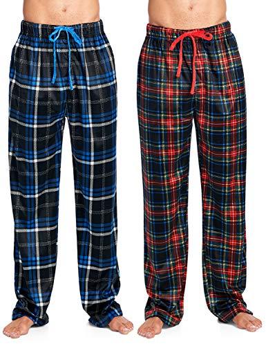 Pajama Trousers (Ashford & Brooks Men's Mink Fleece Sleep Lounge Pajama Pants - 2 PK - Black Blue Plaid/Red Stewart - Small)
