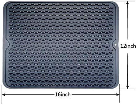 Large Silicone Dish Drying Mat,Kitchen Drainer Mats,Silicone Pot Holder gray, 16X12 Draining Board Trivet Mat Kitchen Table Mat Silicone Drying Mat Waterproof Fas