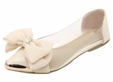 Amazon Com Jiu Du Women S Cute Bow Flats Shoes Pointed Toe