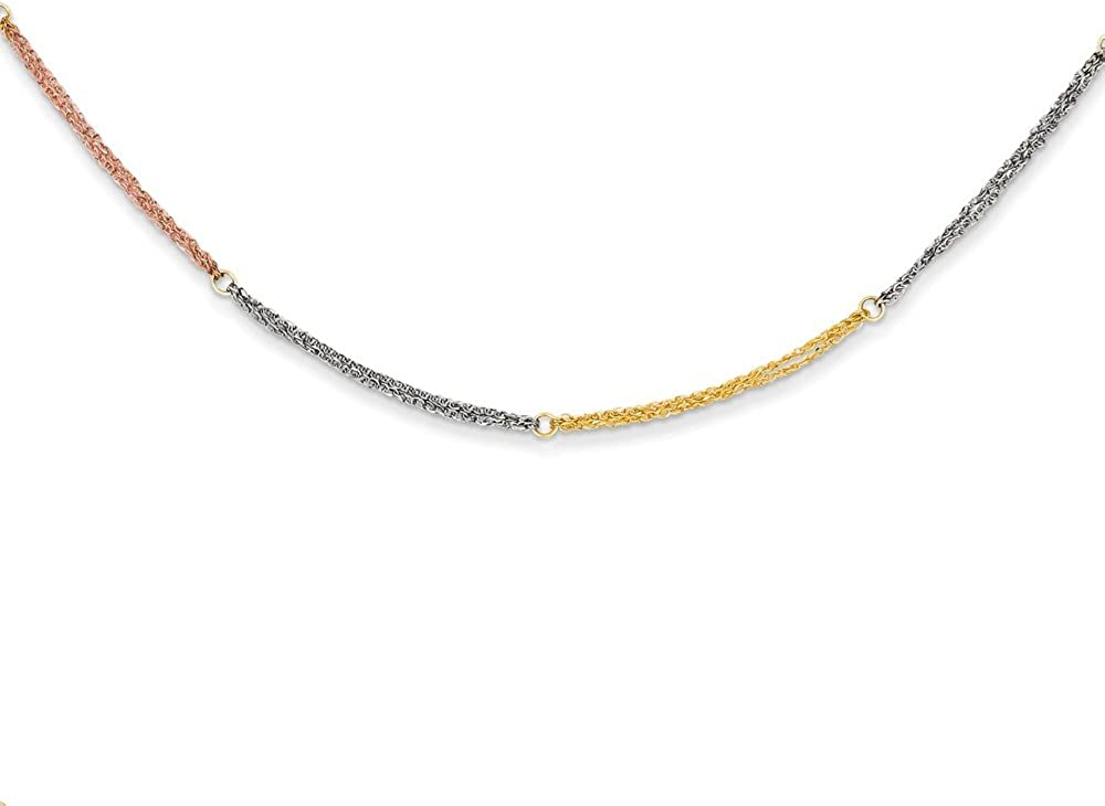 14k Tri-color Section Strands with 2in Ext Necklace