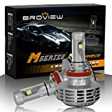 BROVIEW M5 Canbus LED Headlights Anti Flicker Conversion Kit Bulbs - 6000LM H8 H9 H11 3000K 4500K 6500K 8000K 10000K Cree Chip- PnP - LED Headlamp Replaces Halogen & HID - (2pcs/set)