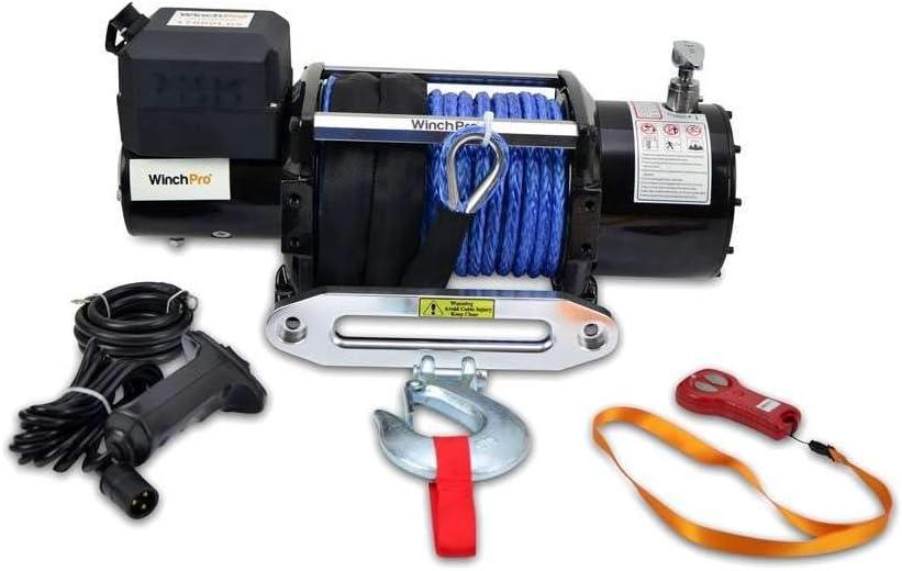 WinchPro - Cabrestante Eléctrico 12V 7700kg/17000lbs, 28m De Cuerda De Dyneema Sintética, 2 Mandos A Distancia Incluidos (1 Inalámbrico, 1 Cable), ...