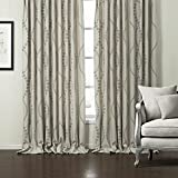 Insulated Blackout Lined Curtains Drapes -KoTing 1 Panel Grommet Top Linen Curtains Grey Floral Jaquard Drapes Review