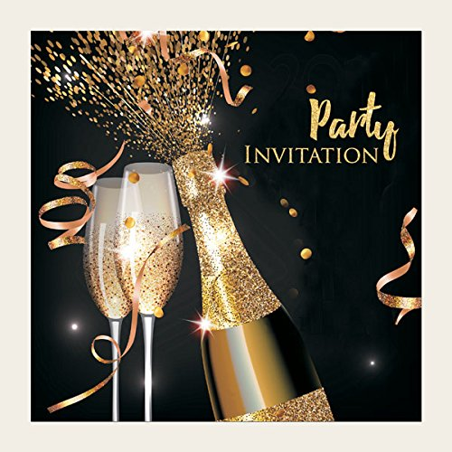 Party Invitations - Gold Sparkle Champagne - 18th, 21st, 30th, 40th, 50th, 60th, 70th, 80th, General, Thank You (80th) The Card Gallery