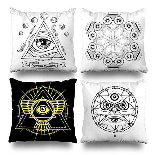 (KJONG All Seeing Eye Symbol Triangle Pyramid Providence Masonic Vintage Zippered Throw Pillow Cover,Set of 4 Square Decorative Pillow Case Fashion Style Cushion Covers(Two Sides Print))