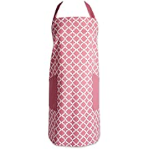 """DII Cotton Adjusatble Women Kitchen Apron with Pockets and Extra Long Ties, 37.5 x 29"""", Cute Apron for Cooking, Baking, Gardening, Crafting, BBQ-Lattice Rose Pink"""