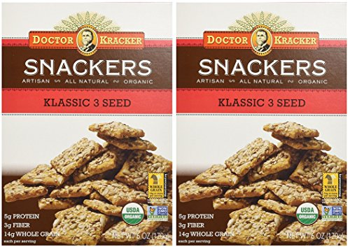 Baked Whole Grain (Whole Grain Wheat Crackers - Artisan Baked Snack Crackers With Whole Seeds - Klassic 3 Seed - 6 oz Each (Pack of 2))