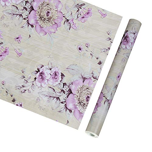 SimpleLife4U Vintage Purple Peony Self-Adhesive Kitchen Shelf Drawer Liner Moisture Proof PVC Mat 45x300cm (Print Overlap Liner)