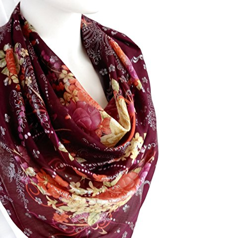 Sparkly Elegant Spring Summer Scarf Purple Silvery Floral Print Soft Cotton Large Square 38 x 38 inches