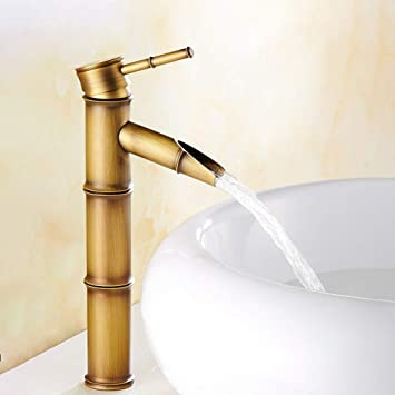 Solid Brass Tall Basin Mixer Tap for Washroom and Bathroom Antique Brass Taps Single Lever Cold and Hot Water Available Basin Tap Solepearl Bathroom Tap