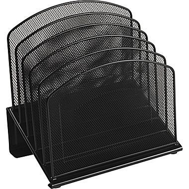 1InTheOffice Black Wire Mesh 5 Section Incline Sorter