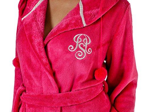 LEVERIE - Albornoz - cuello shaw - Manga Larga - para mujer rosa Small