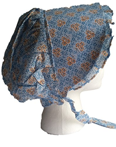 Americana Adult Large Prairie Sun Bonnet (Various Colors) (Blue With Organge Burst)