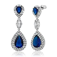 """Pear Shape Blue Simulated Sapphire and Zirconia Dangle Chandelier Earrings 2"""""""