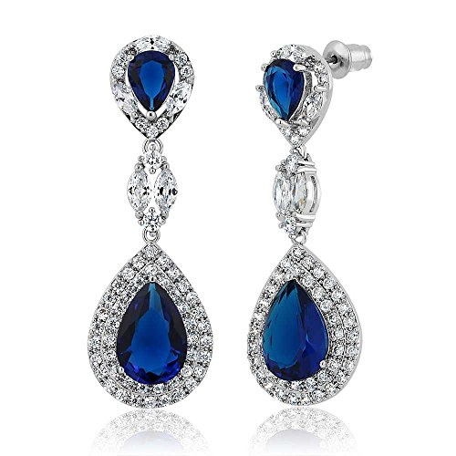 Dangling Chandelier Earrings (Pear Shape Blue Simulated Sapphire and Zirconia Dangle Chandelier Earrings 2