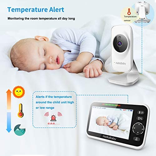 """51EputclCeL. AC - Video Baby Monitor With Camera And Audio, 5"""" Color LCD Screen, HelloBaby Monitor Camera, Infrared Night Vision, Temperature Display, Lullaby, Two Way Audio And VOX Mode"""