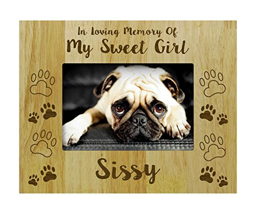 - Darling Souvenir Loss Of A Pet Gift - Personalized Wood Engraved Dog Memorial Picture Frame In Loving Memory Customizable Quote- 5 x 7 Inches Horizontal