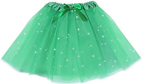 DomeStar Falda tutú Verde con Lentejuelas, Falda de Baile de ...