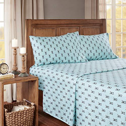 (4 Piece Aqua Grey French Bulldog Flannel Sheet Queen Set, Blue Bulldog Bedding Polka Dot Bedroom Decor Adorable Puppy Deep Pocket Cute Dog Animal Print Comfort Modern Luxury Soft Cotton)