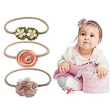 Baby Flower Headband for Girl Turban Head Wraps Hair Garland Adjustable Elastic Ribbon 3 Pieces