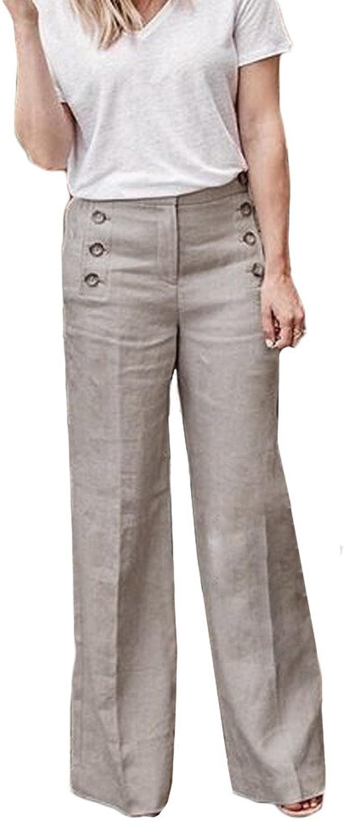 Beladla Pantalones Mujer Anchos Casual Botones Cintura Alta Fiesta ...