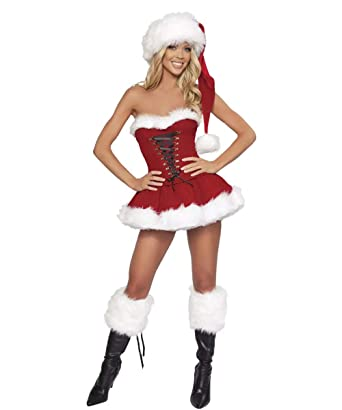 6455b54da7e22 Secret Sinners Sexy Santa Outfit Womens Ladies Miss Claus Fancy Dress & Hat  Costume Christmas Party