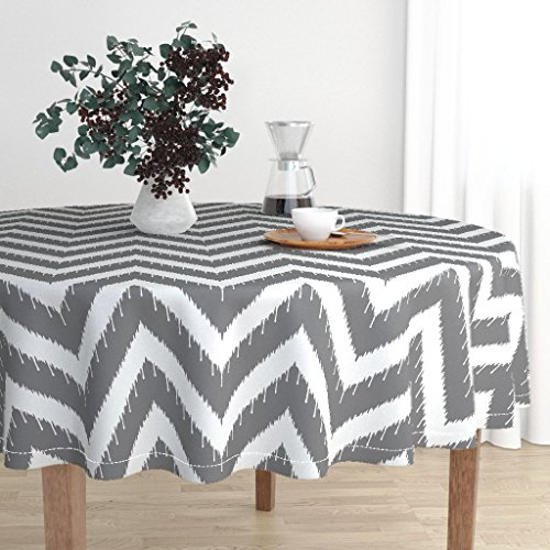 Roostery Round Tablecloth - Ikat Charcoal Beaded Ikat Ikat Chevron Beaded White Modern Home Ikat Beaded by Willowlanetextiles - Cotton Sateen Tablecloth 90in