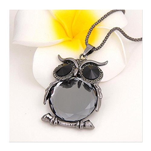 Yuriao Jewelry Fashion Exquisite Crystal Owl Statement Necklace£¨dark gray£